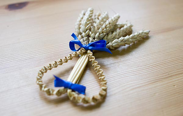 corn doly with blue ribbon