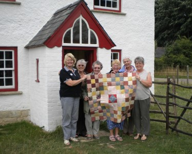 Patchwork and Quilting Group outside Haddenham Cottage