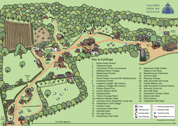 Map of Chiltern Open Air Museum