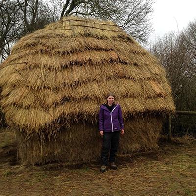 Rachael Maytum and her hay rick